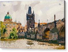 Prague Bridge 3 Acrylic Print by Yury Malkov