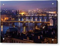 Prague Bridges Acrylic Print by Blaz Gvajc