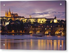 Prague Castle And Charles Bridge Acrylic Print by Andre Goncalves