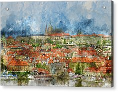 Prague Castle With Famous Charles Bridge In Czech Republic Acrylic Print by Brandon Bourdages