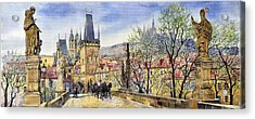 Prague Charles Bridge Spring Acrylic Print