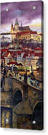 Prague Charles Bridge With The Prague Castle Acrylic Print by Yuriy  Shevchuk