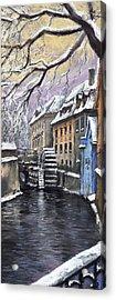 Prague Chertovka Winter Acrylic Print