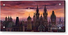 Prague City Of Hundres Spiers Acrylic Print by Yuriy  Shevchuk