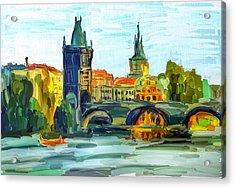 Prague City Acrylic Print by Yury Malkov