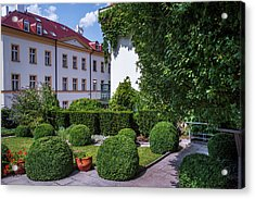 Acrylic Print featuring the photograph Prague Courtyards. Regular Style Garden by Jenny Rainbow