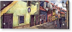 Prague Golden Line Street Acrylic Print