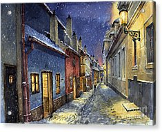 Prague Golden Line Winter Acrylic Print by Yuriy  Shevchuk