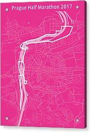 Prague Half Marathon Magenta Acrylic Print by Big City Artwork