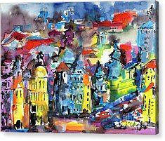 Prague Impressions Modern Watercolor And Ink Acrylic Print