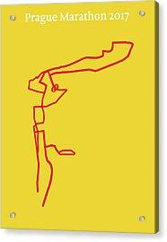 Prague Marathon Line Acrylic Print by Big City Artwork