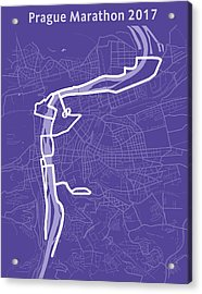 Prague Marathon Purple Acrylic Print by Big City Artwork