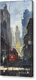 Prague Old Tram 05 Acrylic Print by Yuriy  Shevchuk