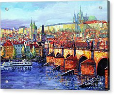 Prague Panorama Charles Bridge 07 Acrylic Print by Yuriy Shevchuk