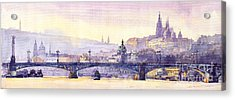 Prague Panorama Chehuv Bridge Acrylic Print by Yuriy  Shevchuk