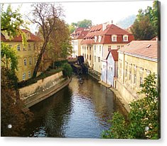Acrylic Print featuring the photograph Prague River Scene by LeAnne Sowa