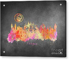 Prague Skyline Art Acrylic Print
