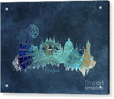 Prague Skyline Blue Art Acrylic Print
