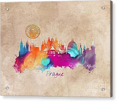Prague Skyline Panorame Art Acrylic Print