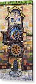 Prague The Horologue At Oldtownhall Acrylic Print by Yuriy  Shevchuk