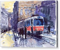 Prague Tram 02 Acrylic Print by Yuriy  Shevchuk