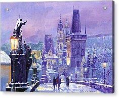 Prague Winter Charles Bridge Acrylic Print by Yuriy Shevchuk
