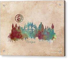 Praha Skyline Panorame Acrylic Print by Justyna JBJart