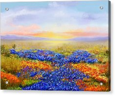 Acrylic Print featuring the painting Prairie In Bloom by Sena Wilson