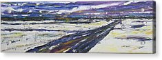 Acrylic Print featuring the painting Prairie Winter Road by Debora Cardaci