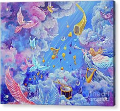 Acrylic Print featuring the painting Praise Him From The Heavens by Nancy Cupp