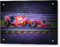 Prancing Horse Vettel Acrylic Print by Marvin Spates