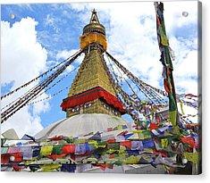 Pray Flags Boudhanath Kathmandu Acrylic Print