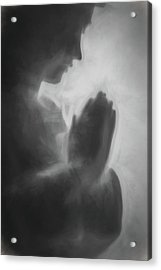 Prayer Black And White Acrylic Print by Terry DeLuco