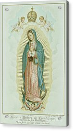 Prayer Card Depicting Our Lady Of Guadalupe Acrylic Print