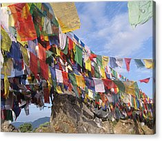 Prayer Flags In Happy Valley Acrylic Print