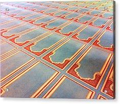 Prayer Mats Printed On Mosque Carpet Acrylic Print by Jill Tindall