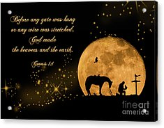 Prayer Of A Cowboy Acrylic Print by Bonnie Barry