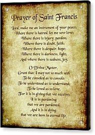 Prayer Of St Francis - Antique Parchment Acrylic Print