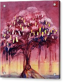 Prayer Tree II Acrylic Print by Janet Chui