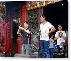 Acrylic Print featuring the photograph Praying At A Temple In Taiwan by Yali Shi