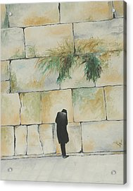 Praying At The Western Wall Acrylic Print by Miriam Leah