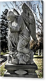 Praying Cemetery Angel  Acrylic Print by Gary Whitton