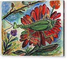 Praying Mantis Welcome - Closeup Acrylic Print by Julie Richman