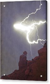 Praying Monk Lightning Burst Of Energy From Above Acrylic Print by James BO Insogna
