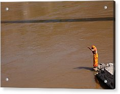 Praying On  Banks Of Holy Ganges In Rishike Acrylic Print by Claude Renault