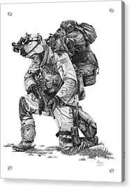 Praying Soldier Acrylic Print by Murphy Elliott