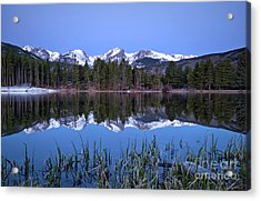 Pre Dawn Image Of The Continental Divide And A Sprague Lake Refl Acrylic Print
