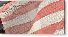Preamble Of The Constitution Of The United States With Us Flag Acrylic Print by Jack R Perry