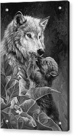 Precious Moment - Black And White Acrylic Print by Lucie Bilodeau