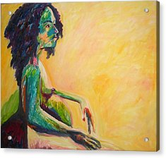 Acrylic Print featuring the painting Pregnant Woman In Yellow by Esther Newman-Cohen